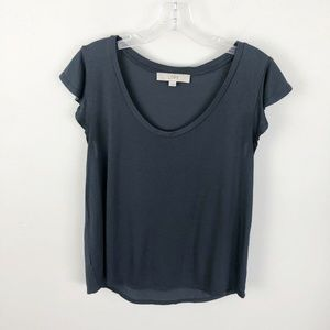 Loft Flutter Sleeve T Shirt Blue Scoop Neck M